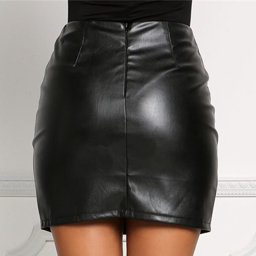 Trendy High Waist Bandage Black Leather Sheath Min
