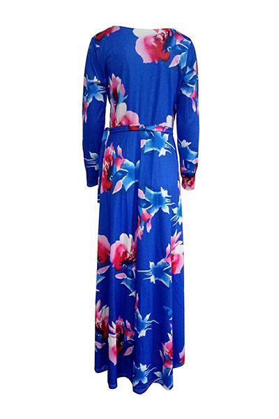 Fashion V Neck Three Quarter Sleeves Floral Print