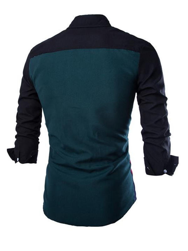 Cotton Blends Turndown Collar Long Sleeve Patchwor