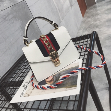 Fashion Patchwork White PU Crossbody Bag