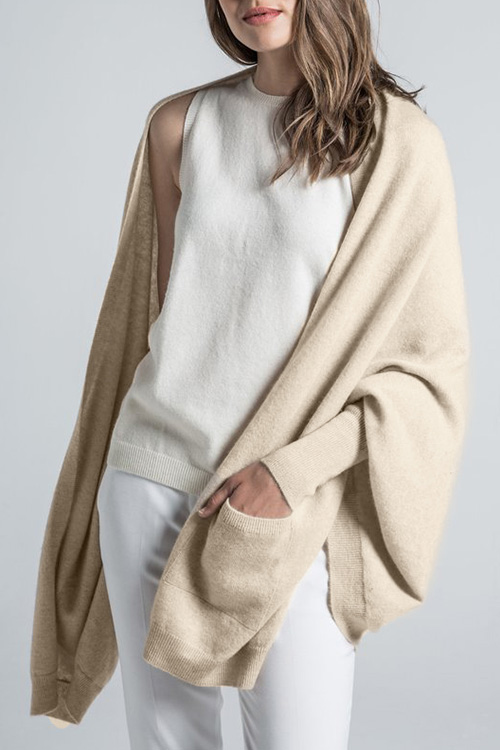 Lovely Casual Pockets Apricot Cardigan Sweaters