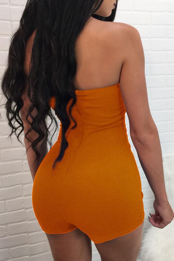 Lovely Casual Bandage Design Orange One-piece Romp