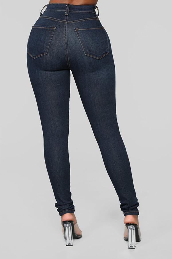Lovely Stylish High Waist Zipper Design Jeans