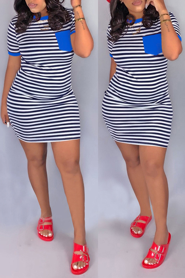 Lovely Casual O Neck Striped Patchwork Blue Mini D