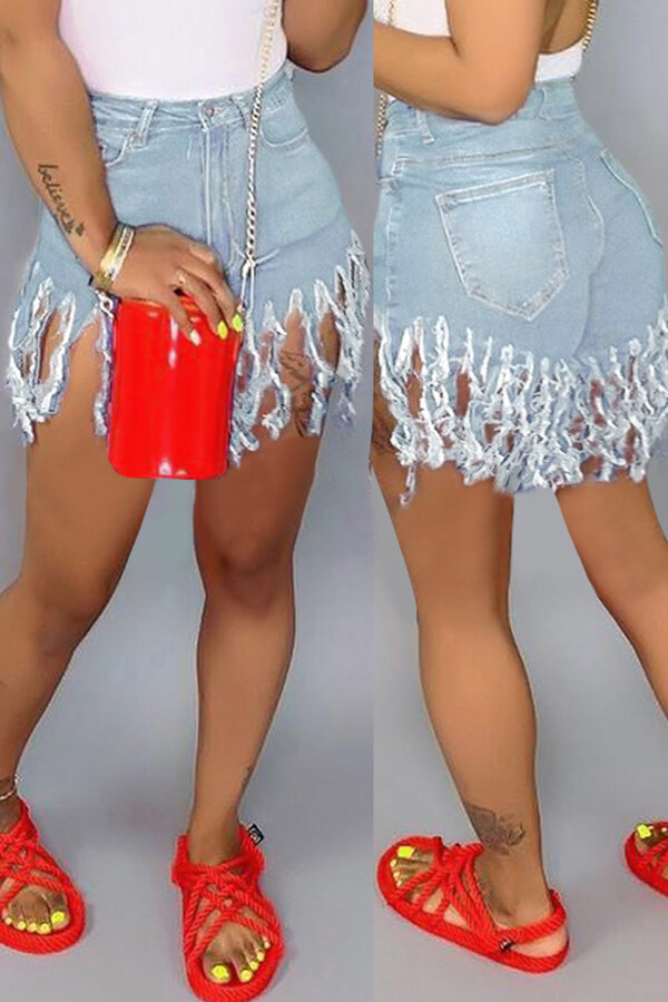 Lovely Casual Tassel Design Baby Blue Shorts
