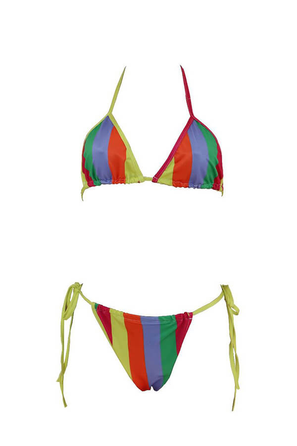 Lovely Halter Neck Striped Multicolor Two-piece Sw