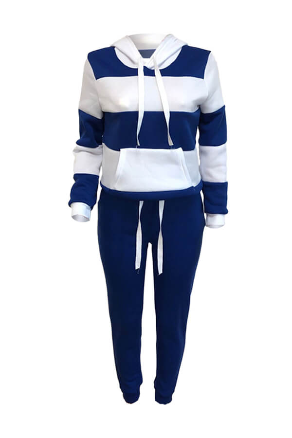 LW Casual Hooded Collar Patchwork Blue Two Piece P