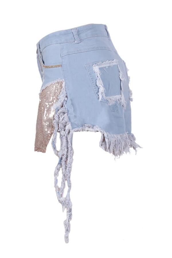Lovely Stylish Patchwork Baby Blue Shorts
