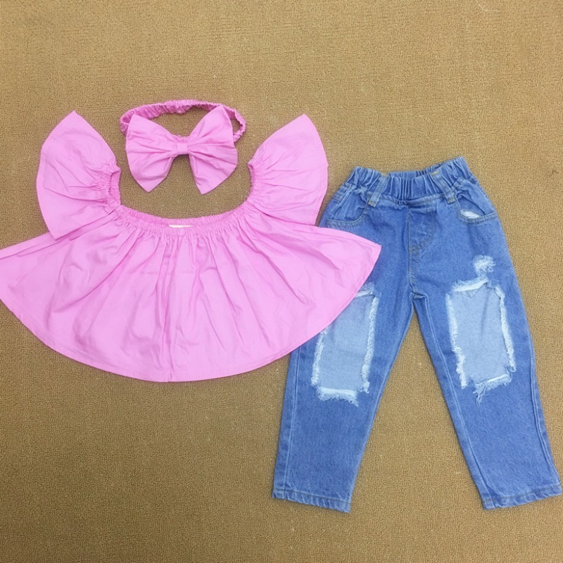 Lovely Sweet Flounce Design Pink Girl Two-piece Pa