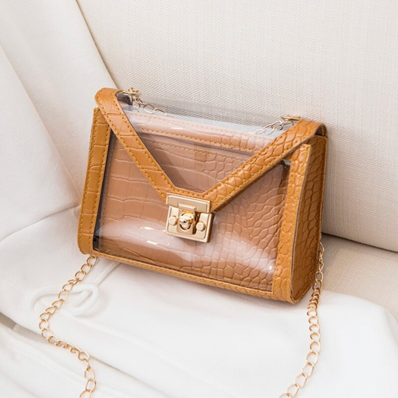 Lovely Stylish Chain Strap Brown Crossbody Bags