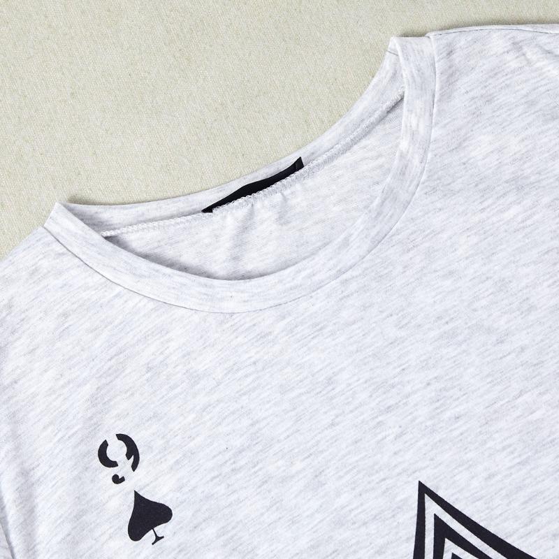lovely Leisure O Neck Print Grey T-shirt