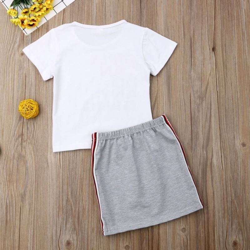 lovely Casual Letter Pritn White Girl Two-piece Sk