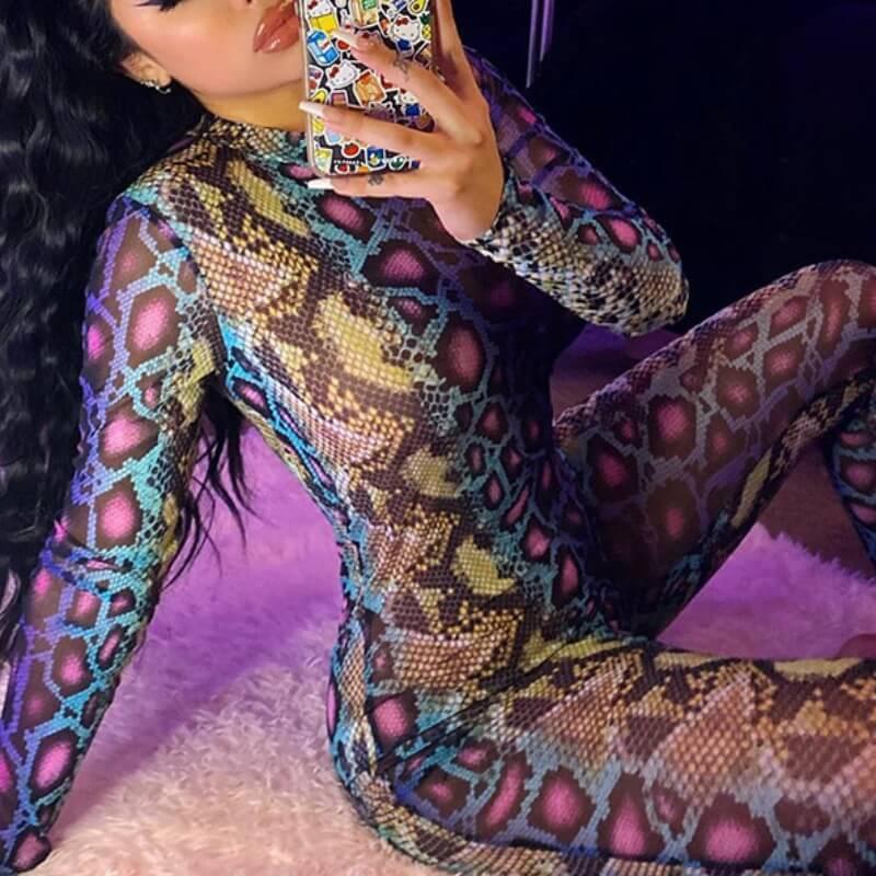 Lovely Trendy Snakeskin Print One-piece Jumpsuit
