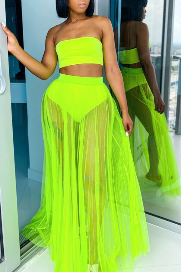 Lovely Plus Size See-through Green Two-piece Swims