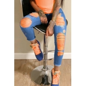 Lovely Stylish Broken Holes Clear Orange Jeans