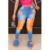 Lovely Trendy Broken Holes Deep Orange Jeans