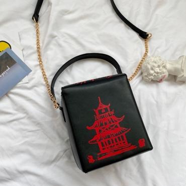 Lovely Chic Chain Strap Black Crossbody Bag