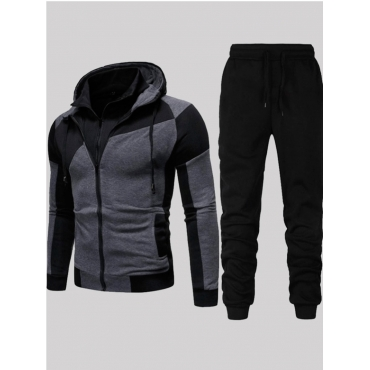 Men lovely Sportswear Hooded Collar Patchwork Blac