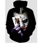 Lovely Men Street Hooded Collar Clown Print Black