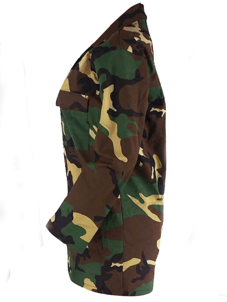 Lovely Plus Size Trendy Camo Print Coat