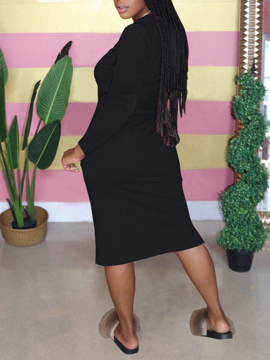 Lovely Leisure O Neck Drawstring Black Knee Length