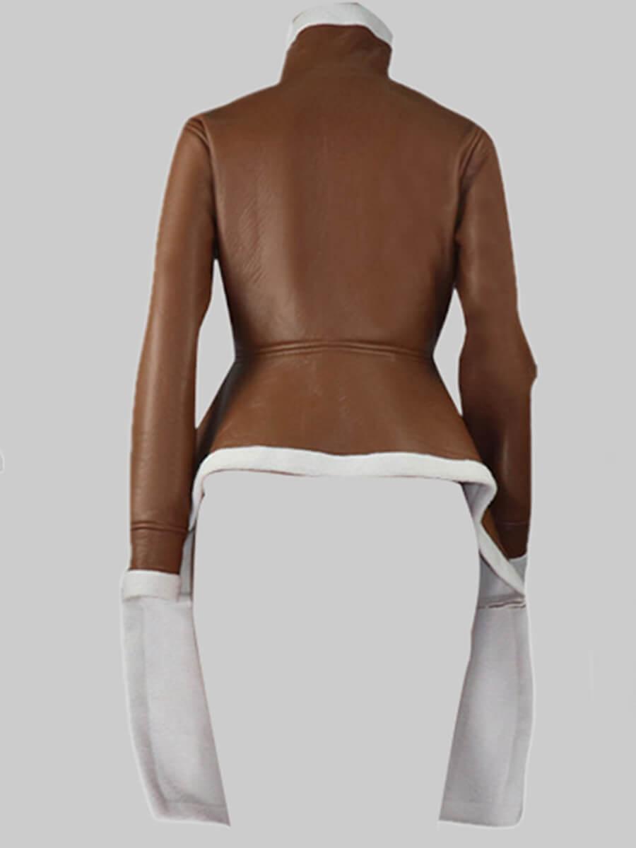 Lovely Stylish Turndown Collar Zipper Design Asymm