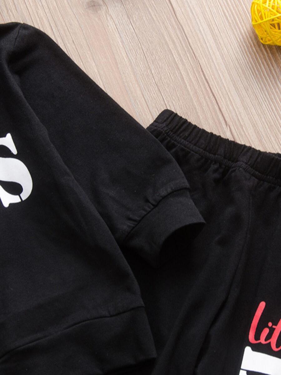 Lovely Boy Street Hooded Collar Print Black Two-pi