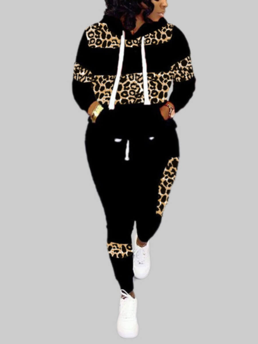 Lovely Plus Size Casual Hooded Collar Leopard Prin