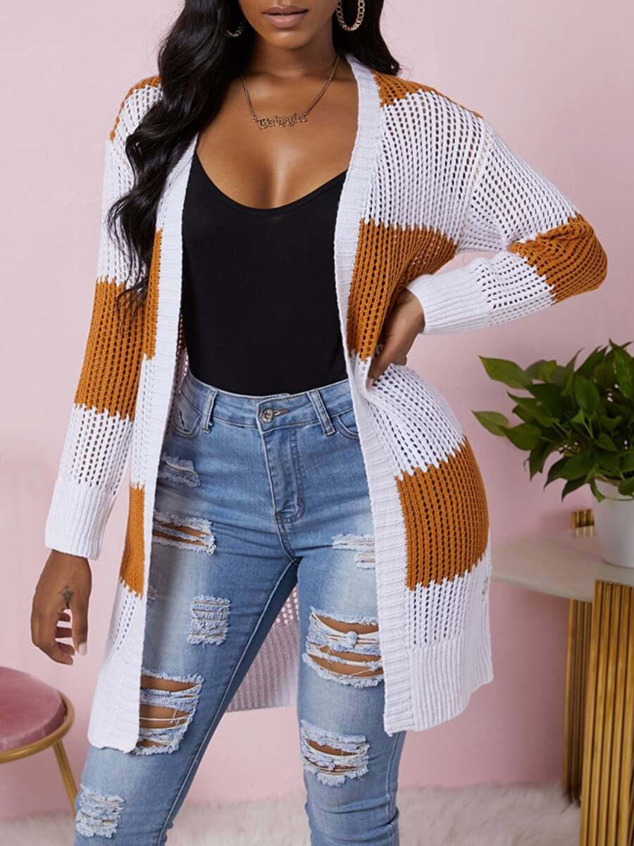 Lovely Leisure Striped Hollow-out Orange Cardigan