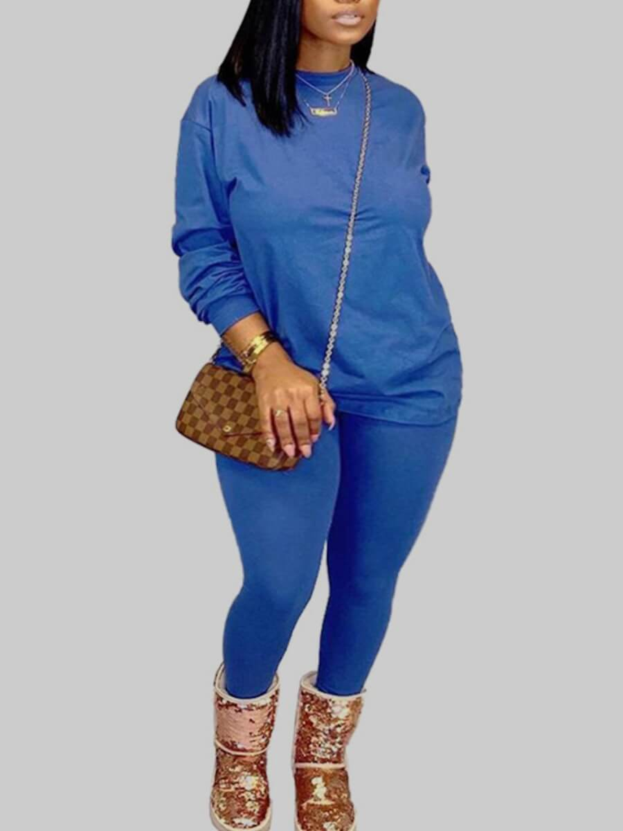 Lovely Casual O Neck Basic Blue Plus Size Two-piec