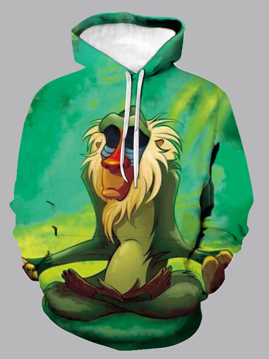 Lovely Men Casual Hooded Collar Cartoon Print Mult