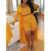 Lovely Casual U Neck Skinny Yellow Three Piece Shorts Set
