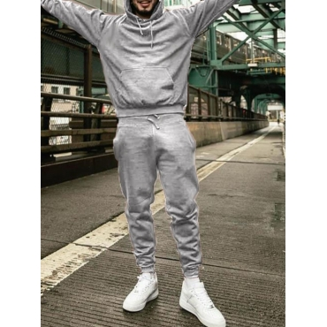 Lovely Men Casual Hooded Collar Basic Grey Two-pie