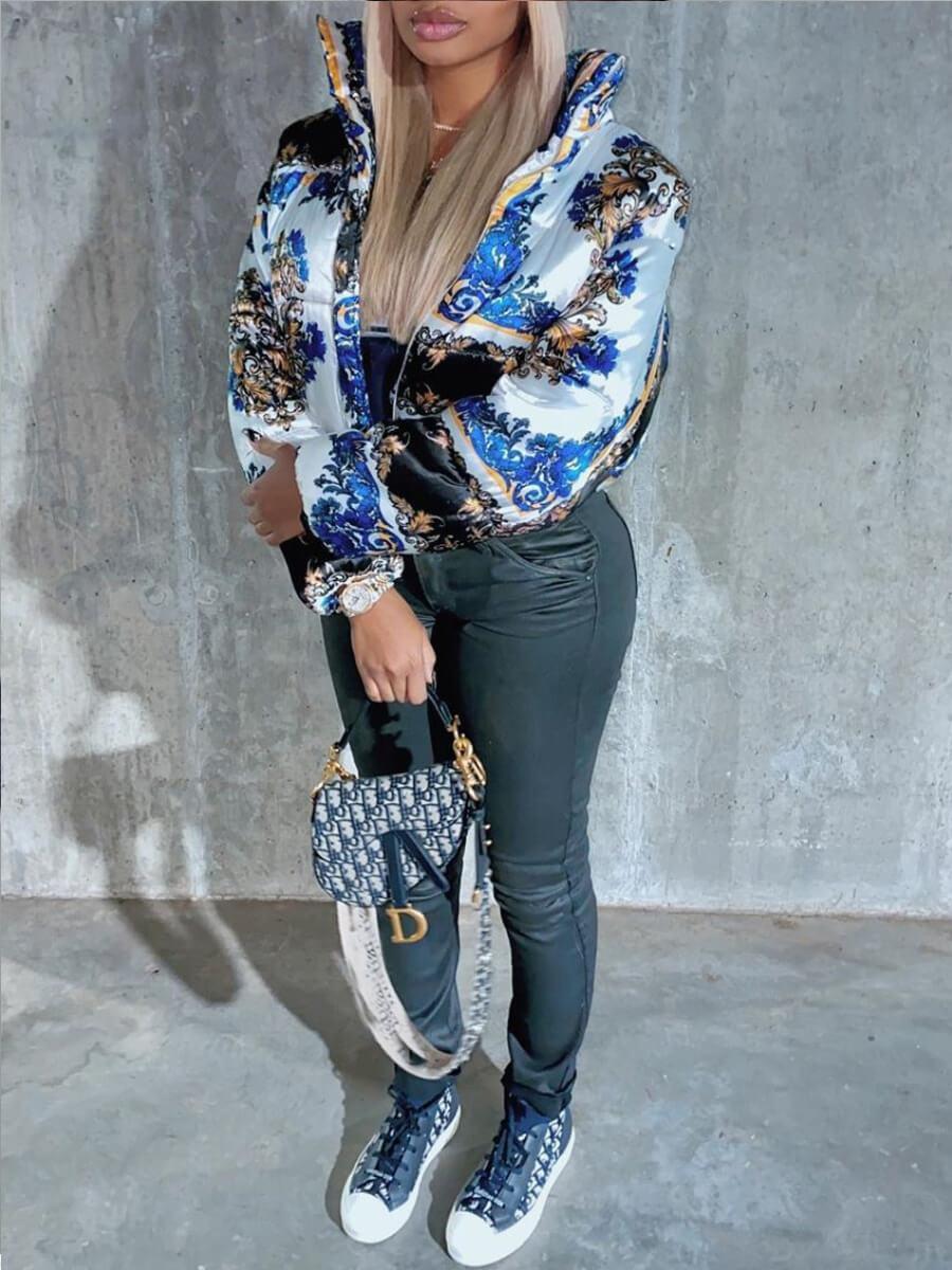 Lovely Trendy Turndown Collar Print Zipper Design