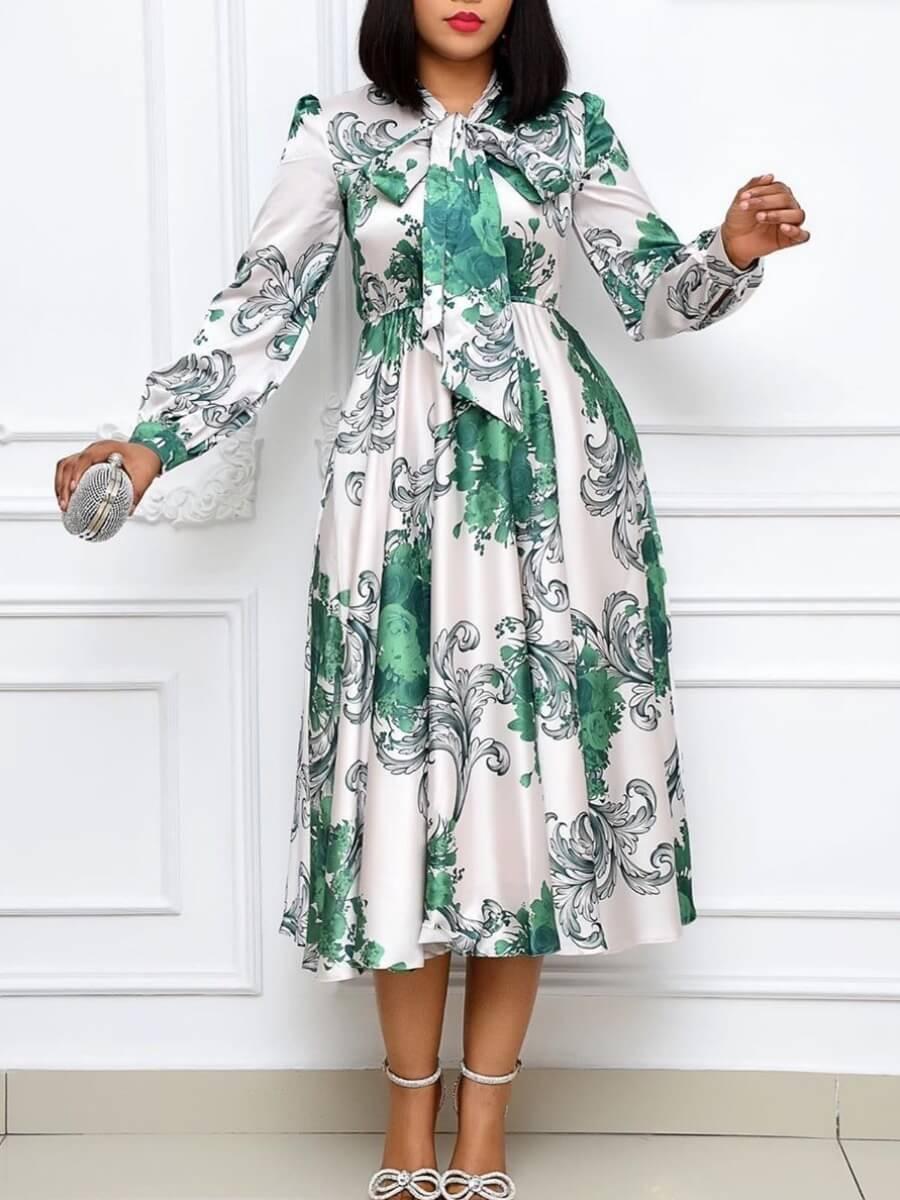 Lovely Trendy Print Fold Design White Mid Calf Dre