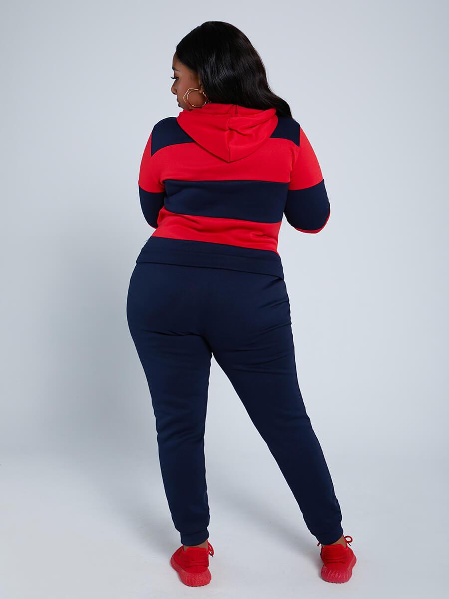 Lovely Sportswear Hooded Collar Striped Dark Blue