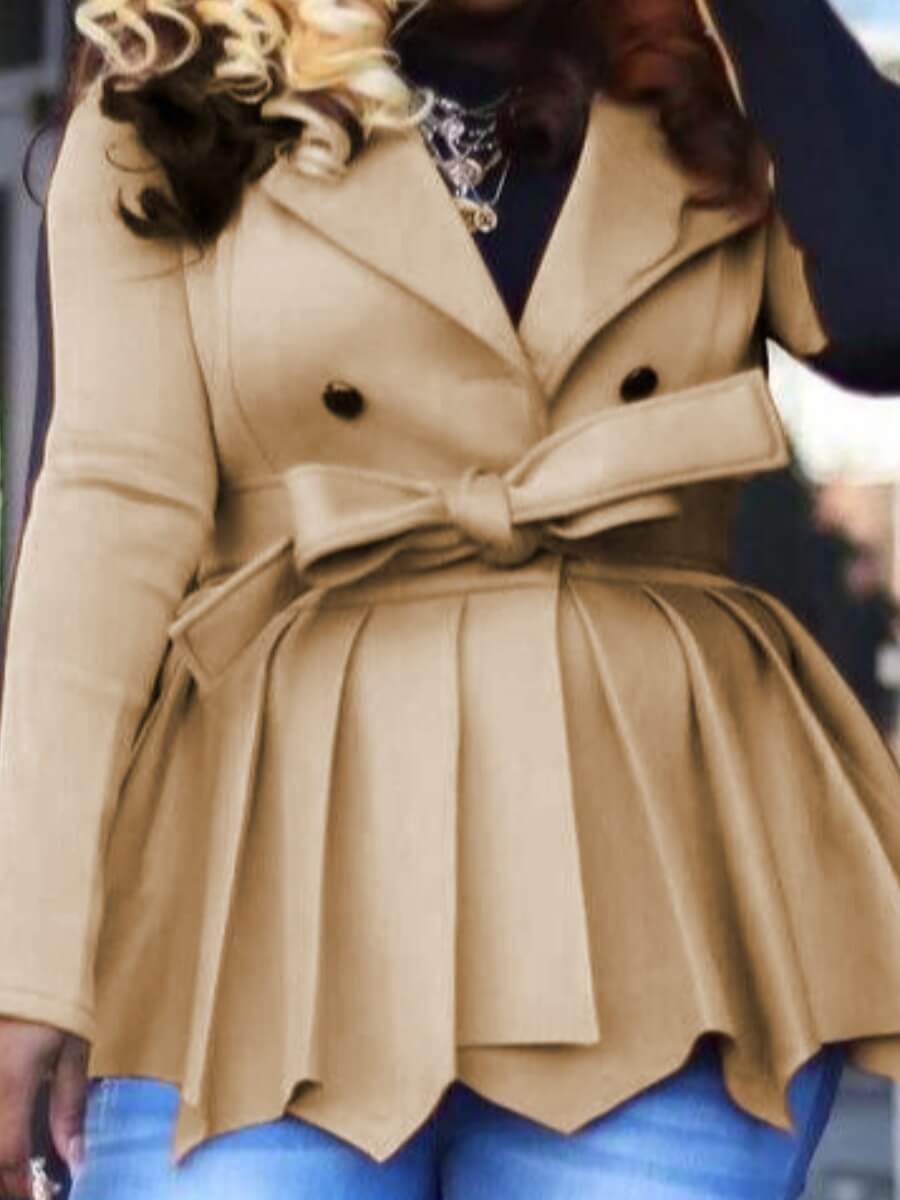 Lovely Trendy Turndown Collar Patchwork Fold Desig