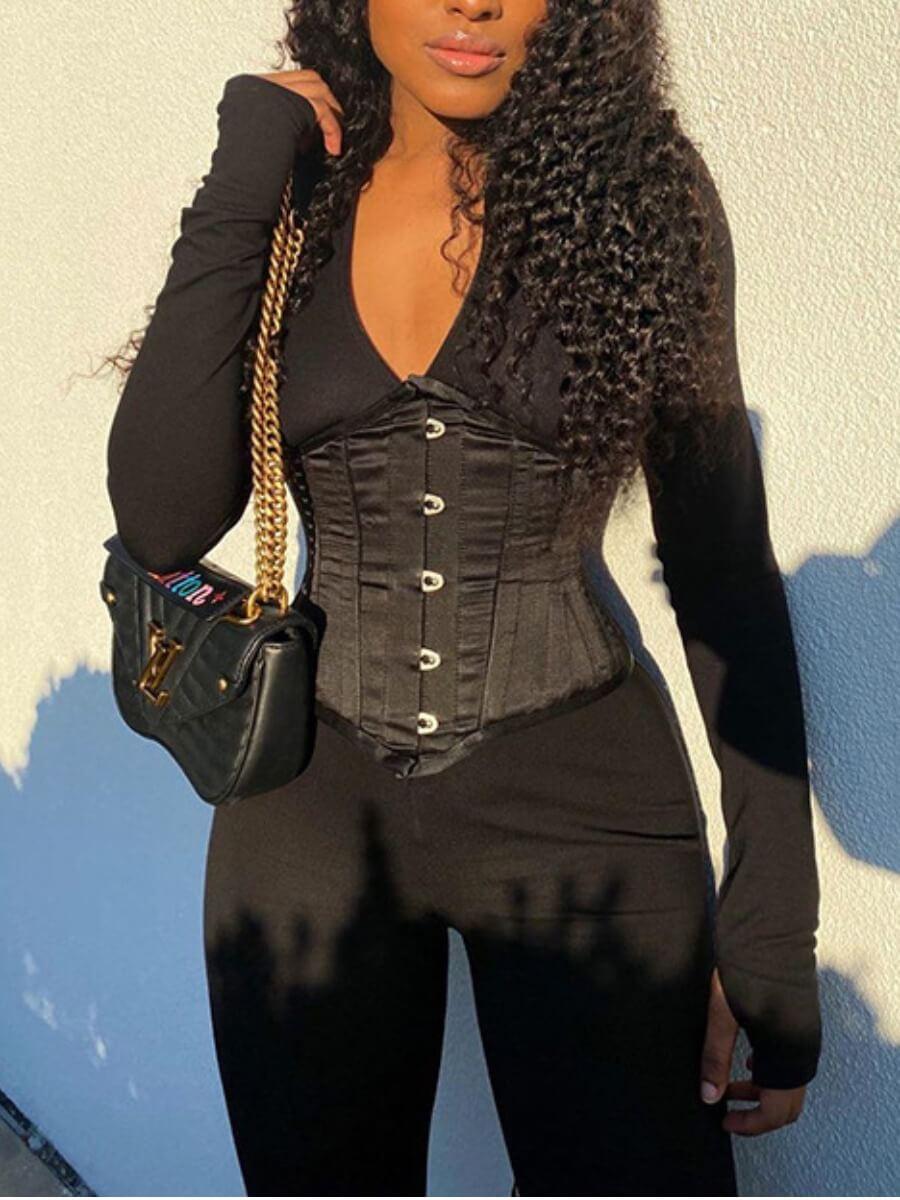 Lovely Sportswear Patchwork Black One-piece Jumpsu