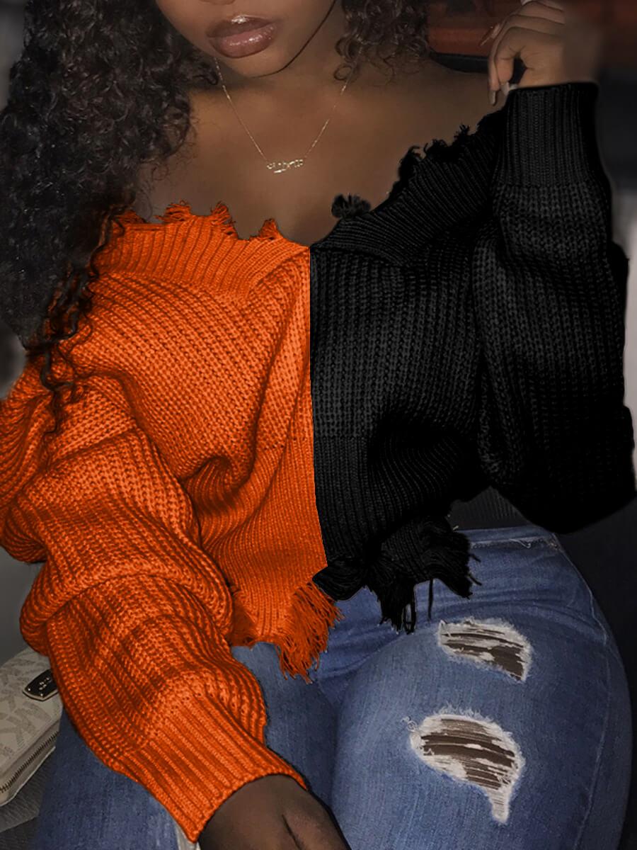 Lovely Street V Neck Patchwork Black Sweater