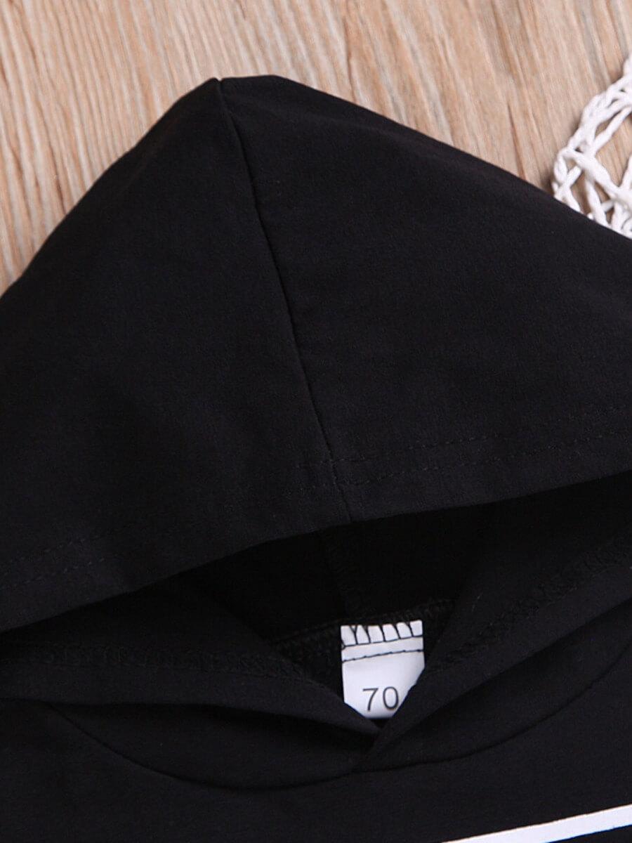 Lovely Casual Hooded Collar Letter Print Black Boy