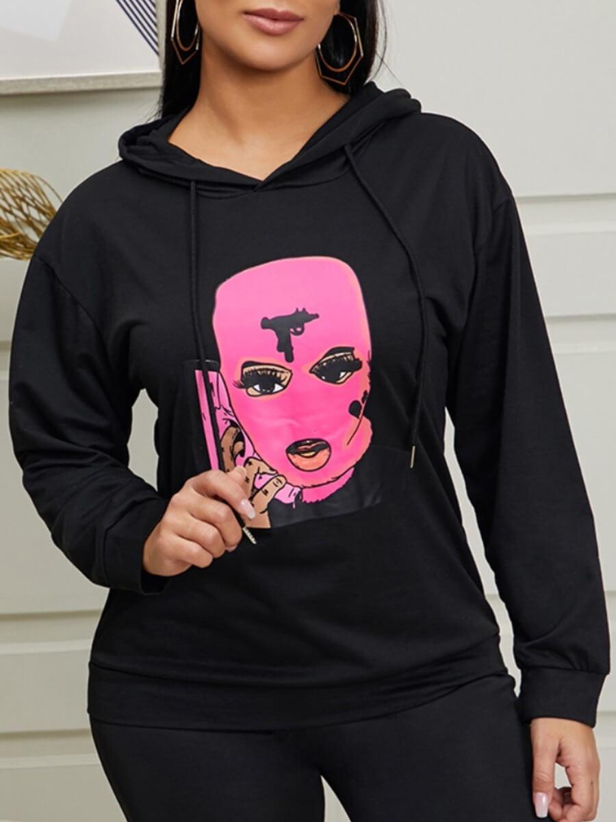 Lovely Casual Hooded Collar Print Black Hoodie