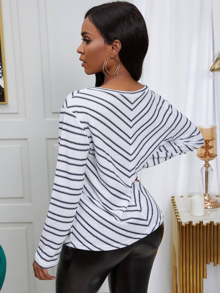 Lovely Leisure V Neck Striped Black Sweater