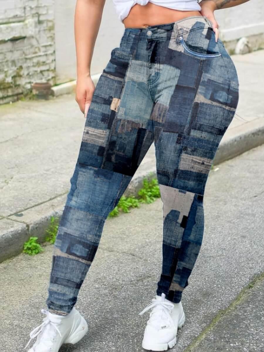 LW BASICS Trendy Print Skinny Deep Bue Pants