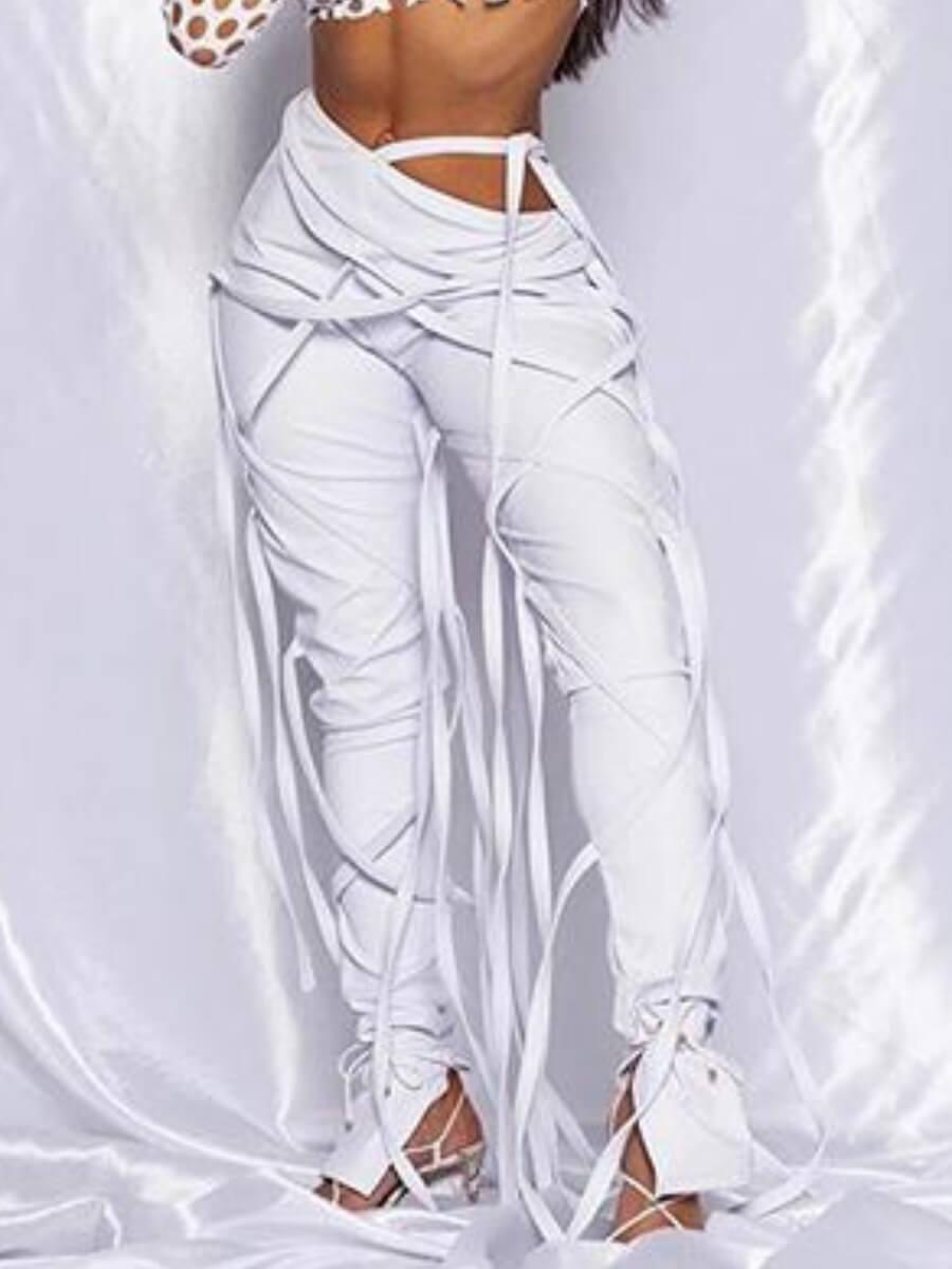 Lovely Stylish Lace-up White Pants