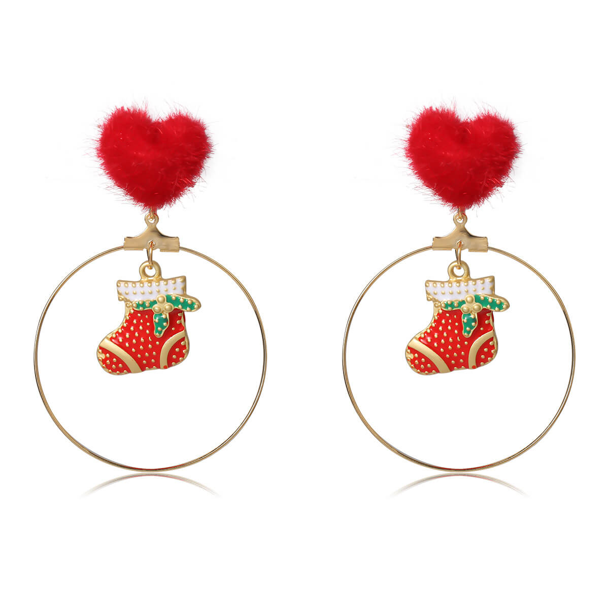 Lovely Christmas Hollow-out Gold Earring