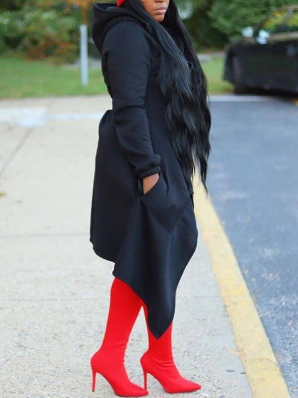 Lovely Casual Hooded Collar Asymmetrical Black Plu
