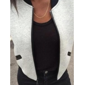 Lovely Casual Patchwork Light Grey Coat