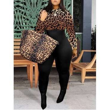 Lovely Stylish O Neck Leopard Print Patchwork Plus