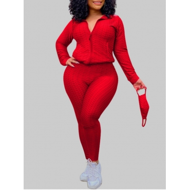 Lovely Casual Turndown Collar Zipper Design Red Pl