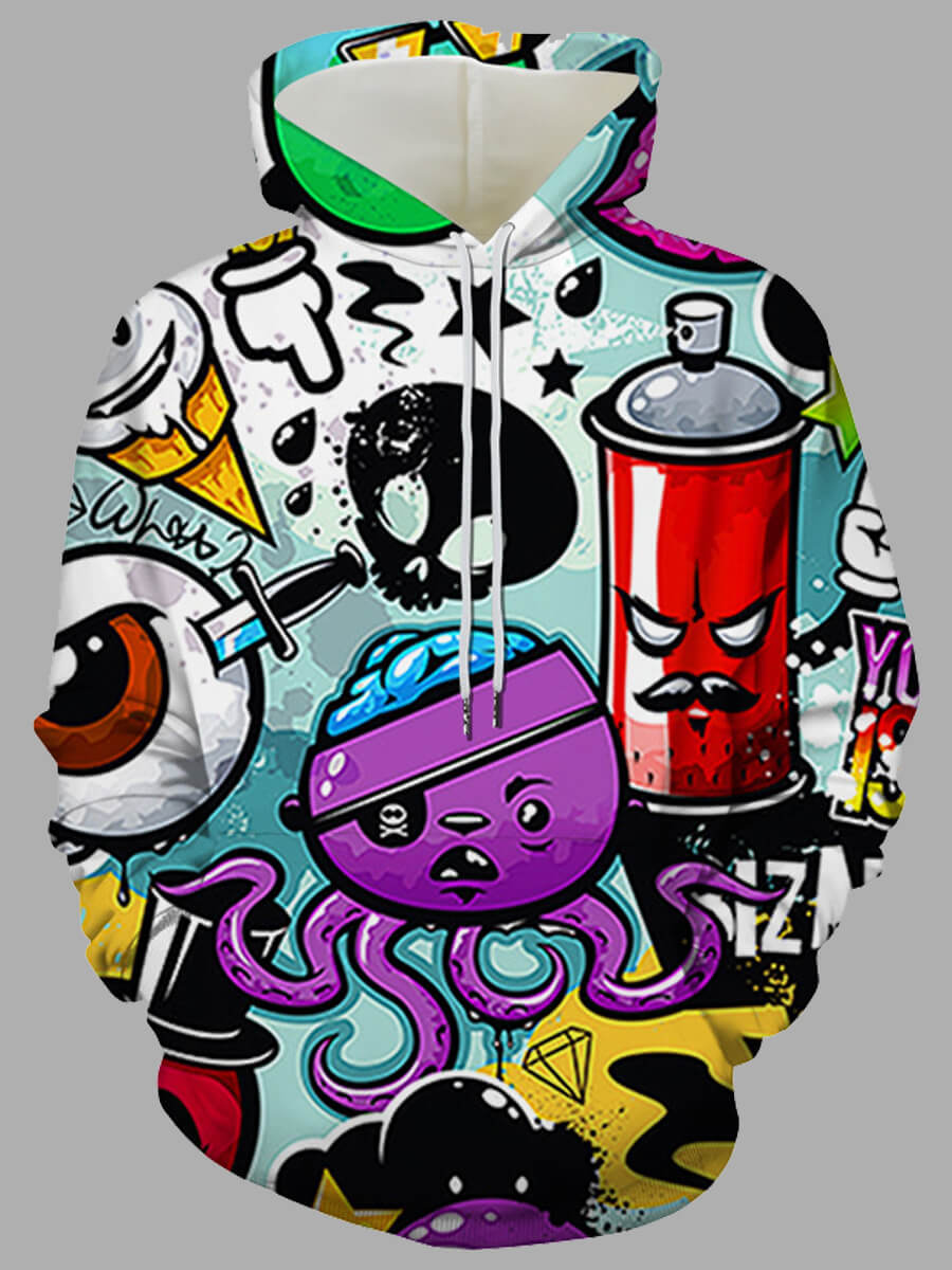 Lovely Men Street Hooded Collar Cartoon Print Mult